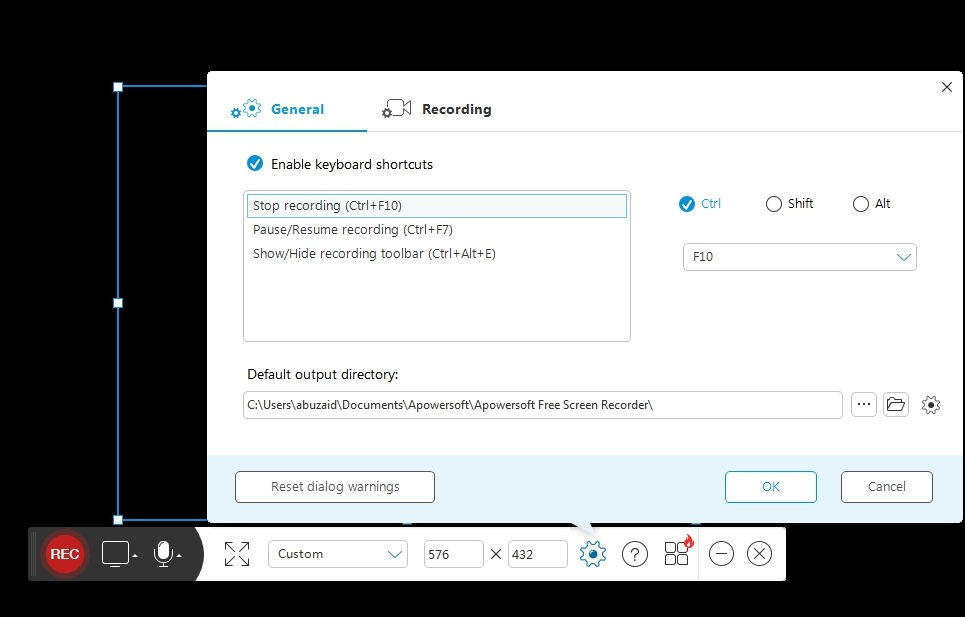 Menu settings on old Apowersoft screen recorder